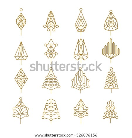 Set of abstract outline style christmas pine trees with geometric holiday ornaments. Ideal for creating your own xmas design, web or app. EPS10 vector. - stock vector