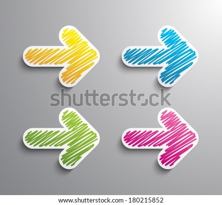 Set of abstract paper stickers cut arrows with scribble style design.