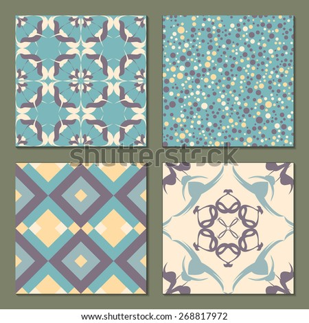 Set of 4 abstract  patterns. Light soft seamless wallpaper. Vector illustration. Fantasy background with geometric shapes, flowers, rhombus and circles. Polka dot pattern. - stock vector