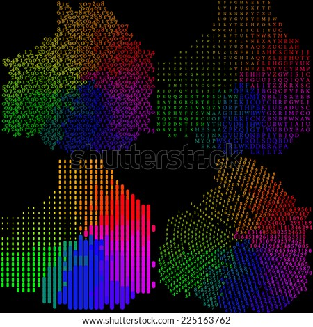 Set of Abstract rainbow colorful background. Vector illustration - stock vector