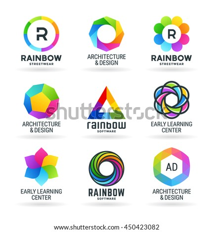 Set of abstract rainbow symbols and colorful logo design elements (1) - stock vector