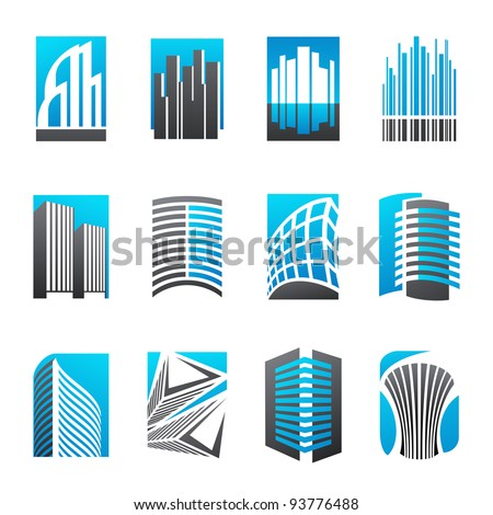 Set of abstract real estate icons illustrating modern architecture. Vector illustration. - stock vector