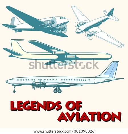 Set of abstract retro planes - stock vector