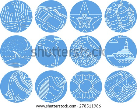 Set of abstract round blue vector icons for underwater elements and sea leisure on white background. - stock vector
