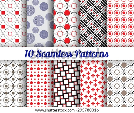 Set of 10 Abstract round patterns. Color seamless vector backgrounds.