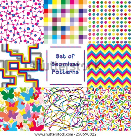 Set of abstract seamless backgrounds with bright pattern,vector illustration