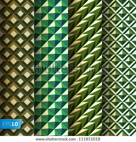 Set of abstract seamless geometrical patterns retro style (seamlessly tiling), vector Eps 10 illustration.
