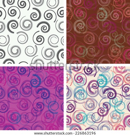 Set of Abstract Seamless Pattern with Striped Spirals and Swirls