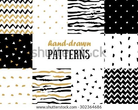 Set of abstract seamless patterns in gold, white and black - stock vector