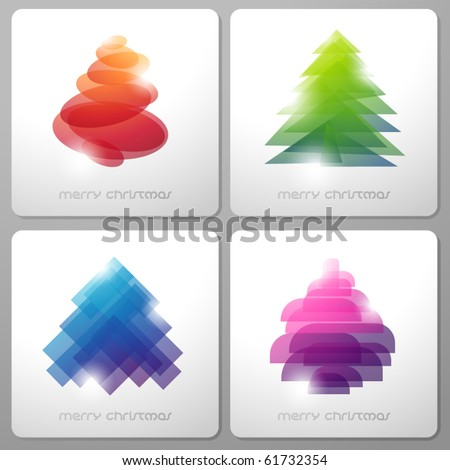 Set of abstract shiny christmas trees. Vector illustration. - stock vector