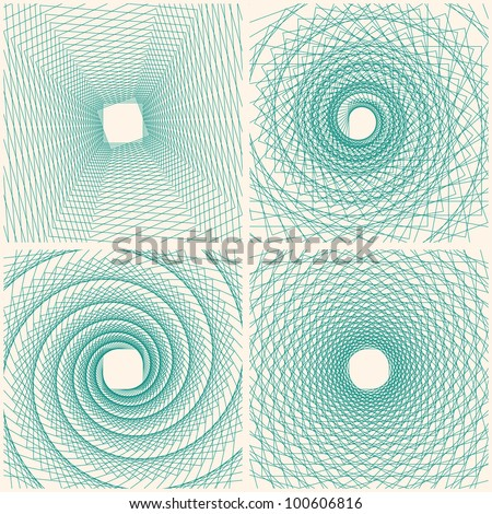Set of Abstract Spiral Doodle Card. Vector Background Illustration - stock vector