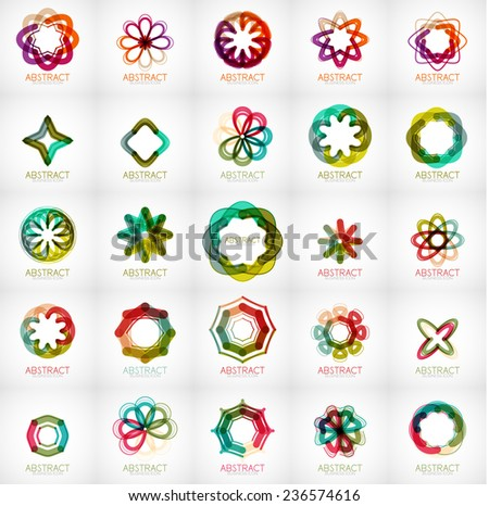 Set of abstract star flower shape logos. Modern business fashion or beauty concept - stock vector