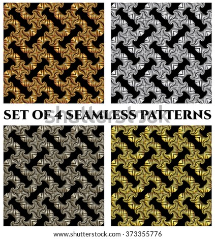 Set of 4 abstract stylish seamless patterns with golden, silver and bronze fractal ornament on black background
