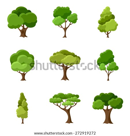 Set of abstract stylized trees. Natural illustration. - stock vector