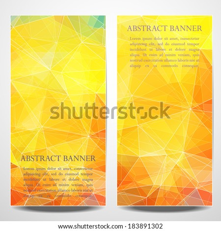 Set of abstract summer banners with triangle object and place for your text. Design template. - stock vector