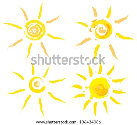 set of abstract summer suns - stock vector