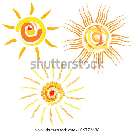 Set of abstract suns, vector illustration - stock vector