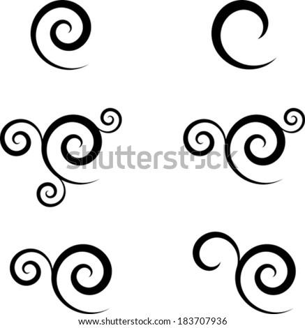 Set of abstract swirl symbols - stock vector