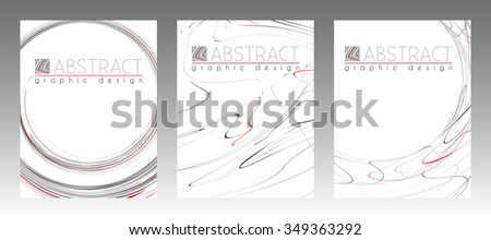 Set of abstract templates of page with black, red and gray strips. Vector graphic design layouts - stock vector