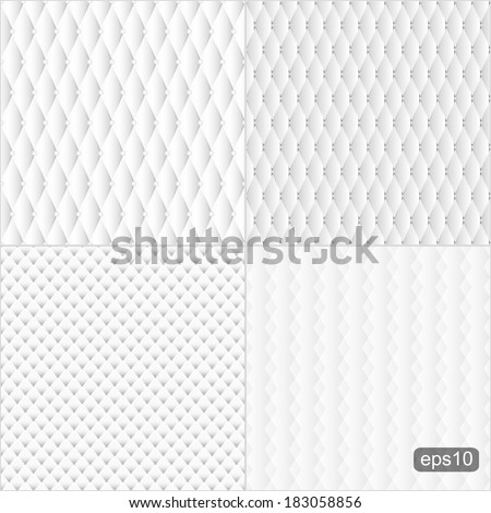 Set of abstract upholstery texture. Four white seamless backgrounds for your design. Vector illustration. - stock vector