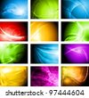 Set of abstract vector backgrounds with waves. Eps 10 design - stock vector