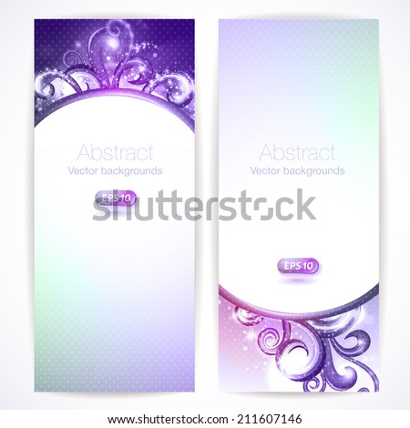 Set of abstract vector banners with swirls.  - stock vector
