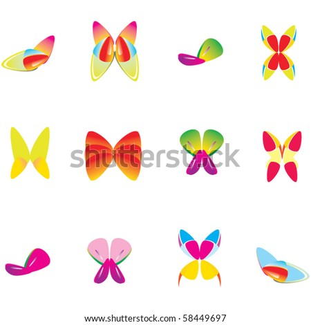Set of abstract vector butterfly - stock vector