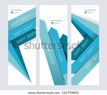 Set of abstract vector paper banners with blue arrows.  - stock vector