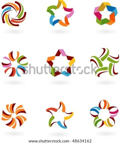 Set of abstract vector  symbols and icons - stock vector