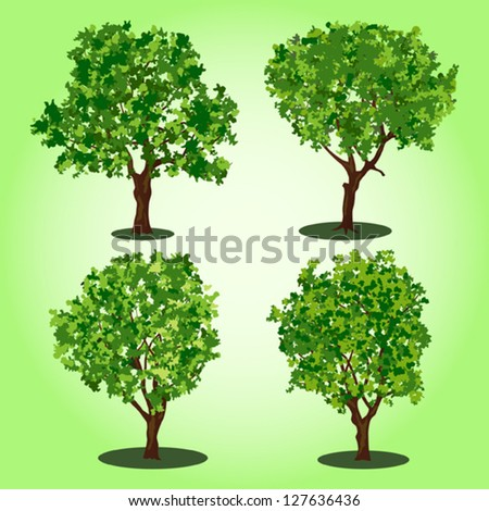 Set of abstract vector trees - stock vector