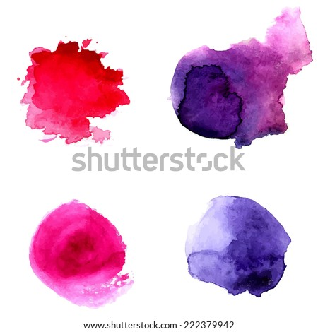 Set of abstract violet and pink watercolor circles. Vector backdrop for logo and text.  - stock vector