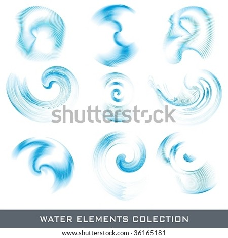 Set of abstract water funnel design elements, vector illustration - stock vector