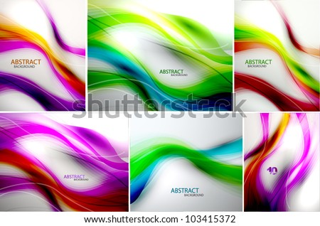 Set of abstract wave backgrounds. For normal quality increase steps in blending options - stock vector