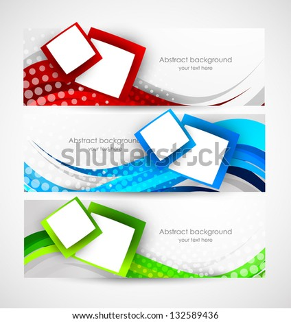 Set of abstract wavy banners - stock vector