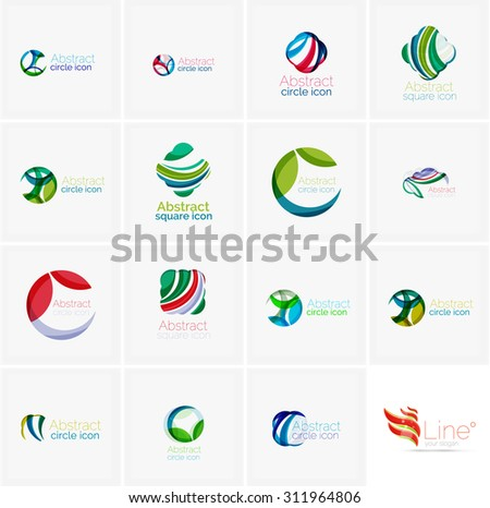 Set of abstract wavy elements. Circles, swirls and waves with copyspace for your message. Banner advertising layouts - templates, identity logo or wallpapers
