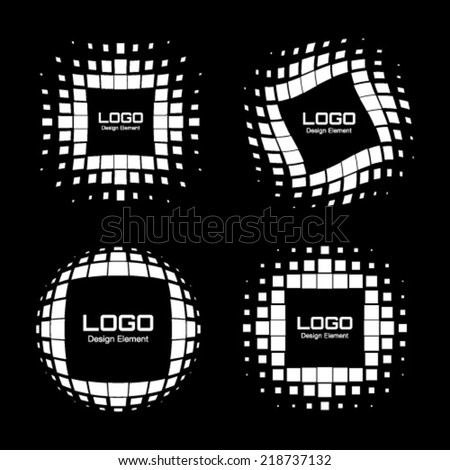 Set of Abstract White Halftone Logo Design Elements, vector illustration  - stock vector