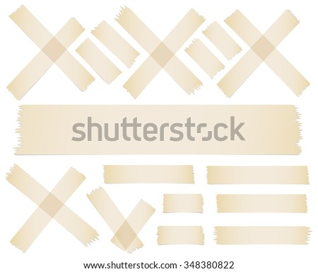 Set of accept or yes, cross and different size adhesive tape pieces on white background - stock vector