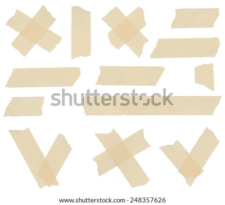 Set of accept or yes, no symbols, cross and different size adhesive tape pieces on white background - stock vector