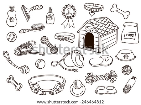 Set of accessories for dogs. Vector hand-drawn illustration. Isolated on white. - stock vector