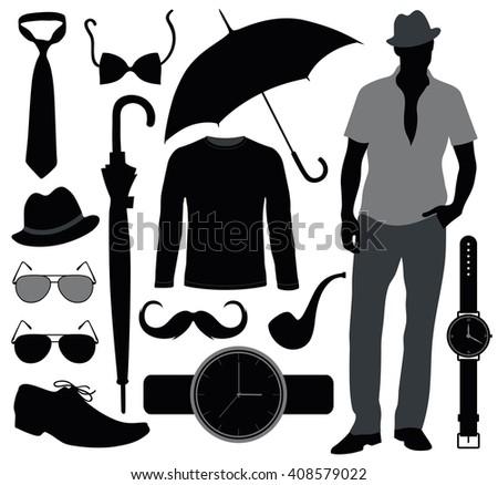 Set of accessories for men.  - stock vector