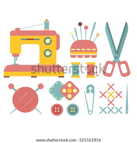 Set of accessories for sewing and handmade paper card with dressmaking accessories. My hobby - lettering - stock vector
