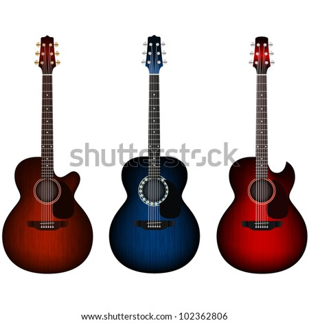 Set of acoustic guitars - stock vector