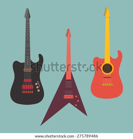 Set of acoustic musical instrument guitars on blue background.