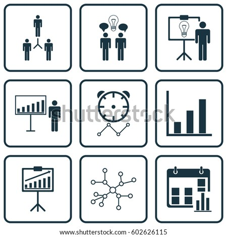 Set 9 Administration Icons Includes Project Stock Vector 602626115