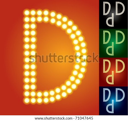 Set of advanced led alphabet with transparency. Character d - stock vector