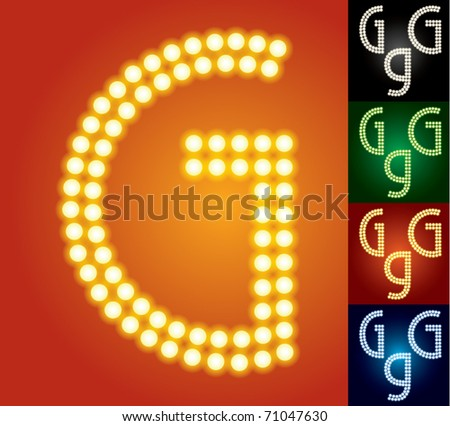Set of advanced led alphabet with transparency. Character g - stock vector