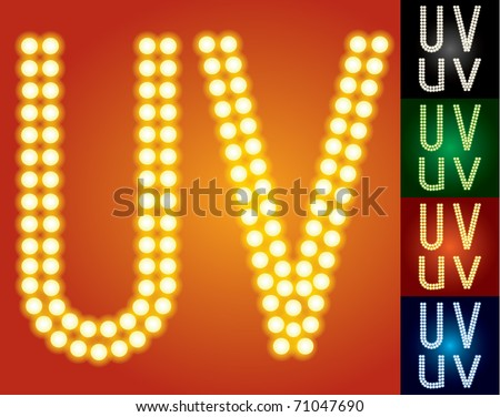 Set of advanced led alphabet with transparency. Characters u v - stock vector