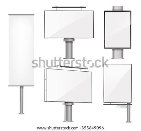 set of advertising metallic blank outdoor design templates. vector illustration - stock vector