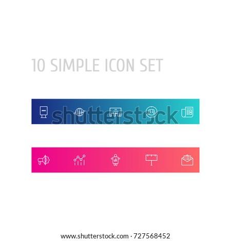Set 10 Bureau Outline Icons Setcollection Stock Vector 725472451