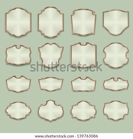 Set of advertising signboards and panels, with wood frames. Vector design illustration for web or other uses. - stock vector